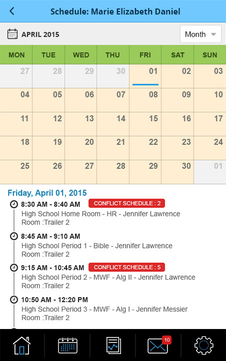 Teacher Portal : Student Schedule - Month View